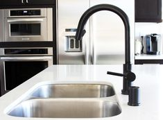 The matte black Solna Brizo faucet with SmartTouch is a pretty awesome addition to our kitchen.