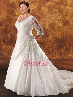 A-Line V-cuello mangas 3 / 4 semi-catedral vestidos de novia de tren