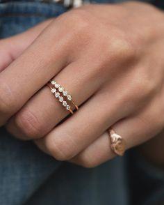 14kt gold and five bezel diamond ring – Luna Skye by Samantha Conn