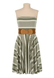 Belted Stripe Tube Dress - maurices.com