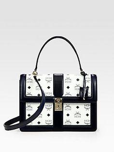 1b832db3a8d MCM - Tracey Canvas   Leather Flap Shoulder Bag