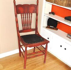 Antique Chair Red Spindled Ornate High Back by TheVelvetBranch, $142.50
