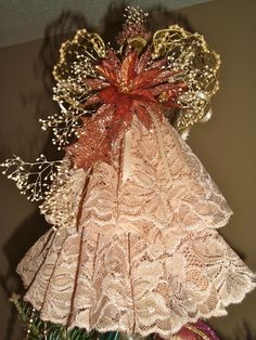 Handmade Victorian Angel Tree Topper or table decoration.