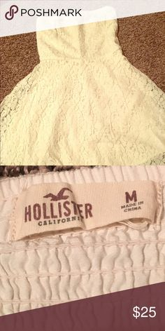 Hollister Cream Lace dress Size M. Off white cream colored. Lace.                  Feel free to ask any questions! Hollister Dresses Strapless