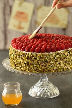 Raspberry Pistachio Cake ,, rasp + choc / whipped topping on sides Great Desserts, Delicious Desserts, Sweet Recipes, Cake Recipes, Cupcake Cakes, Cupcakes, Muffins, Pistachio Cake, Cooking Cake