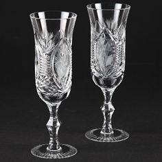 2 wundervolle Vintage schwere Sektgläser Schliff Blumen Gravur Kristall Glas R2O