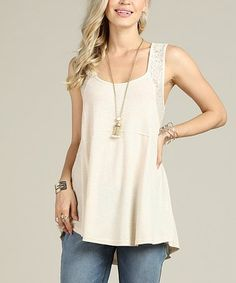 Suzanne Betro Cream Lace-Back Sleeveless Tunic - Women & Plus Cami Tops, Tunic Tops, Sleeveless Tunic, Lace Back, Couture, Plus Size Fashion, Dress Up, Cute Outfits, Womens Fashion