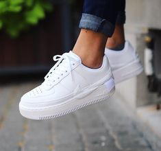 Nike Air Force 1 Jester XX Triple White - Adidas White Sneakers - Latest and fashionable shoes - Nike Air Force 1 Jester XX Triple White Nike Air Force 1 Outfit, Nike Air Force Ones, Nike Shoes Air Force, Nike Force 1, Best White Sneakers, White Nike Shoes, Nike Air White, Sneakers Mode, Sneakers Fashion