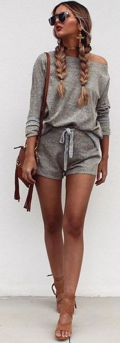#summer #latest #fashion #trends | Grey Double Piece Set