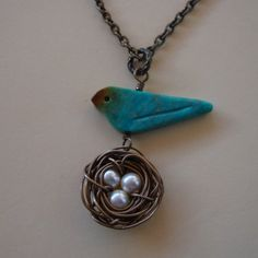 Turquoise Bird and Nest necklace by 4ever4 on Etsy, $26.00