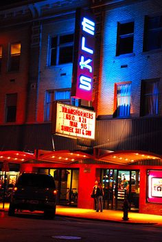 The Elks Theatre in #DowntownRapidCity Rapid City South Dakota, North Dakota, City Journal, Great West, Bye Felicia, Neon Nights, Exotic Places, Elk, Night Time