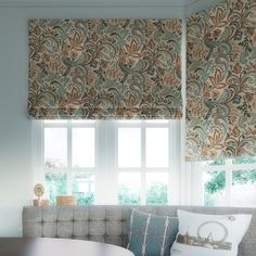 Roman shades are perfect for bay windows, and eat in kitchens. From SelectBlinds.com