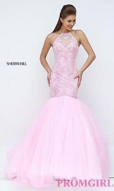 Beaded Long Halter Mermaid Sherri Hill Prom Dress at PromGirl.com