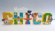 Letra 3D personalizada. Confeccionada em papel opaline com impressão de alta qualidade e apliques em relevo.  Pode ser feita em qualquer cor e tema.  Valor cobrado POR LETRA. Cada letra R$ 10,00  Medida: 15 de altura
