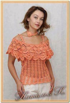 Blusa sin hombros crochet