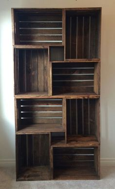Bookshelf made out of old wooden crates