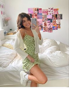 """Uploaded by Sara Joy - trendy green dress outfit sara joy"" Cute Casual Outfits, Girly Outfits, Mode Outfits, Cute Summer Outfits, Retro Outfits, Spring Outfits, Autumn Outfits, Stylish Outfits, Summer Dresses"