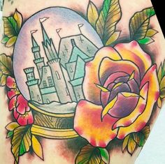 Epic flowers and castle snow globe by Paula Castle, UK (Instagram @paulacastletattoos).