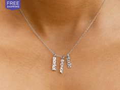 Sterling Silver Mini Names Necklace: MonogramHub