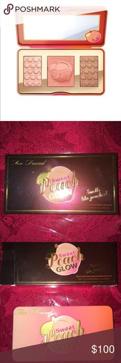 Too faced Sweet Peach glow pallet Sweet Peach Glow illuminating, blushing and bronzing palette is infused with the juicy scent and skin-loving essence of peach to give your face a radiant natural peach glow.  Brand new in box! Too Faced Makeup Bronzer
