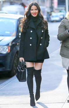 Trench coats and knee high boots = perfect combo for fall/winter oxoxoxxo