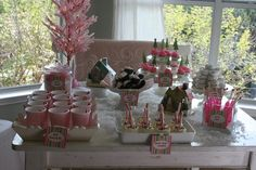 Pink Winter Wonderland Dessert Table...love the snow on the table