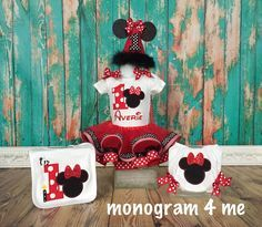 Minnie Mouse Birthday Set, Birthday Tutu, Bloomers, Bib, Party Hat, red black and white by monogram4me on Etsy https://www.etsy.com/listing/226732682/minnie-mouse-birthday-set-birthday-tutu