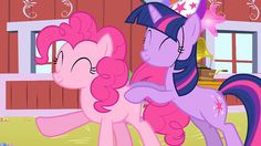 Twilight and Pinkie forming a conga line