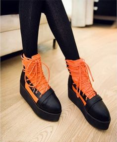 Fashion Women's Mixed Color Strap Platform Locomitive Short Boot on BuyTrends.com, only price $30.00