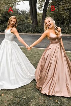Simple v neck satin long prom dress, evening dress - 2020 New Prom Dresses Fashion - Fashion Of The Year Cheap Graduation Dresses, Cheap Prom Dresses, Dresses For Teens, Sexy Dresses, Summer Dresses, Dresses Uk, Sexy Gown, Outfit Summer, Quinceanera Dresses