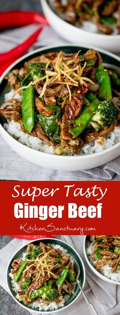 Spicy Ginger Beef stir fry - tender beef sirloin with crispy ginger, green veg and a simple-but-tasty Chinese-inspired sauce. #chinesefoodrecipes