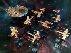 The rebel fleet #ffg #fantasyflight #fantasyflightgames #starwars # xwingrepaints #BFG #lambashuttle