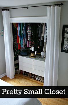 Ideas for organizing a small closet on a budget. #closet #DIY #organization