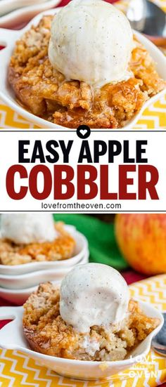 My family could not get enough of this easy apple cobbler recipe! Such a great fall apple dessert, we like it a la mode with ice cream on top! # simple Desserts The Best Easy Apple Cobbler Recipe Baked Apple Dessert, Apple Dessert Recipes, Köstliche Desserts, Easy Apple Desserts, Apple Snacks, Apple Recipes Easy, Easy Baking Recipes, Oven Recipes, Easy Apple Pie Recipe