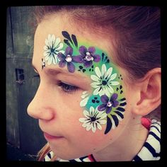 Flower garden face paint eye design teenager adults kids face painting