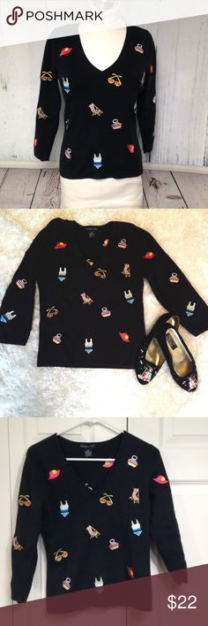"""🆕 Listing! Eagle Eye Summer Motif Sweater Black sweater with playful summer embroidered designs. Adorable and unique! Approximate measurements laying flat: bust 17"""", length from shoulder 21"""", sleeve 18"""". Eagle Eye Sweaters V-Necks"""