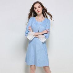 Women Casual Blue Faux Suede A Line Mini Day Dress Plus Size l to 5xl