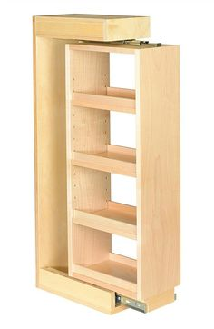Components Wall Pull-Out Filler - 3 Adjustable Shelves Century Components Wall Pull-Out Fillers with 3 Adjustable Shelves and Slides.Century Components Wall Pull-Out Fillers with 3 Adjustable Shelves and Slides. Beginner Woodworking Projects, Woodworking Plans, Woodworking Techniques, Woodworking Furniture, Youtube Woodworking, Woodworking Magazine, Woodworking Supplies, Woodworking Workshop, Woodworking Crafts