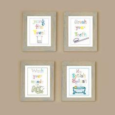 Bathroom rules art prints Set of Four  8x10 by LittlePergola, $48.00