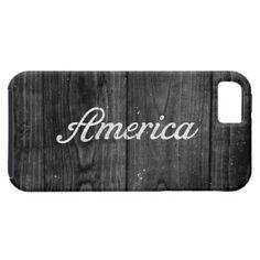 Black and White Patriotic Vintage America USA Wood iPhone 5 Case $44.95