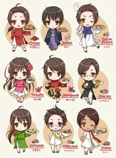 Hetalia Asia - Characters with their national flower and food... maybe...
