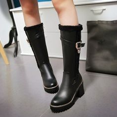 Military Womens Block High Heels Mid Calf Boots Leather Buckle Platform Shoes Sz