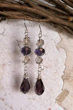 Purple and Champagne Glass Crystal Drop Earrings by SmockandStone, $15.00