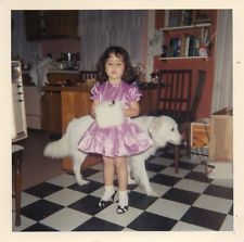 1960's Cute young girl in pink dress and muff vintage children photo.Fashion.Dog