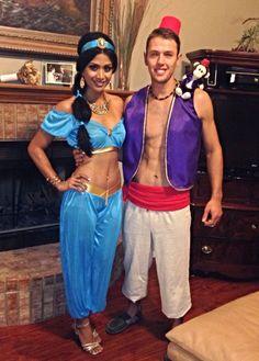 Jasmine and Aladdin costume. Princess Jasmine costume from… Jasmine And Aladdin Costume, Princess Jasmine Halloween Costume, Aladdin Halloween, Unique Halloween Costumes, Halloween Outfits, Halloween Carnival, Jasmine Costume Women, Halloween Couples, Halloween Cat