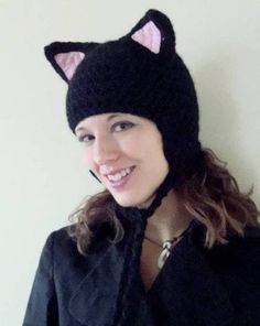 Black Kitty Cat Hat - Now with a VERY rough basic pattern included - CROCHET