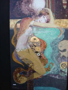 "36""X60"" - ""Starlight Mermaild"" Homage to Gustav Klimt. Acrylic, rice paper, polymer gel and gold leaf."