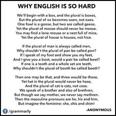 Why English is so hard. English Grammar and spelling humour. English Writing, English Words, English Lessons, English Grammar, Teaching English, Learn English, English Literature, English Study, English Language Funny