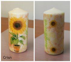 Espelme decorada amb tovallons/vela decorada con servilletas