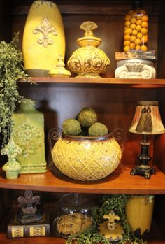 Tuscan decor you dont even have to know how to arrange items they are so beautiful ,they have there on accent!